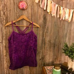 {athleta}fuchsia purple ombré paisley floral top m